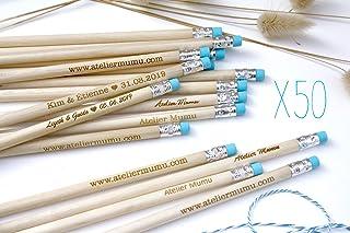 Matita con testo personalizzato, gruppo x50 matite, regalo di nozze per gli ospiti, gomma di colore blu, per matrimonio