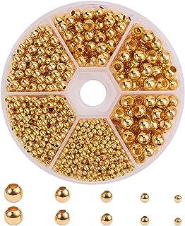 PH PandaHall 約1430個/箱 真鍮 メタルビーズ 2.4-6mm ボール スペーサービーズ 丸玉ビーズ 大穴ビーズ アクセサリーパーツ ジュエリー DIY用 手芸用品 クラフト用品 ハンドメイド 手作り素材 ゴールド
