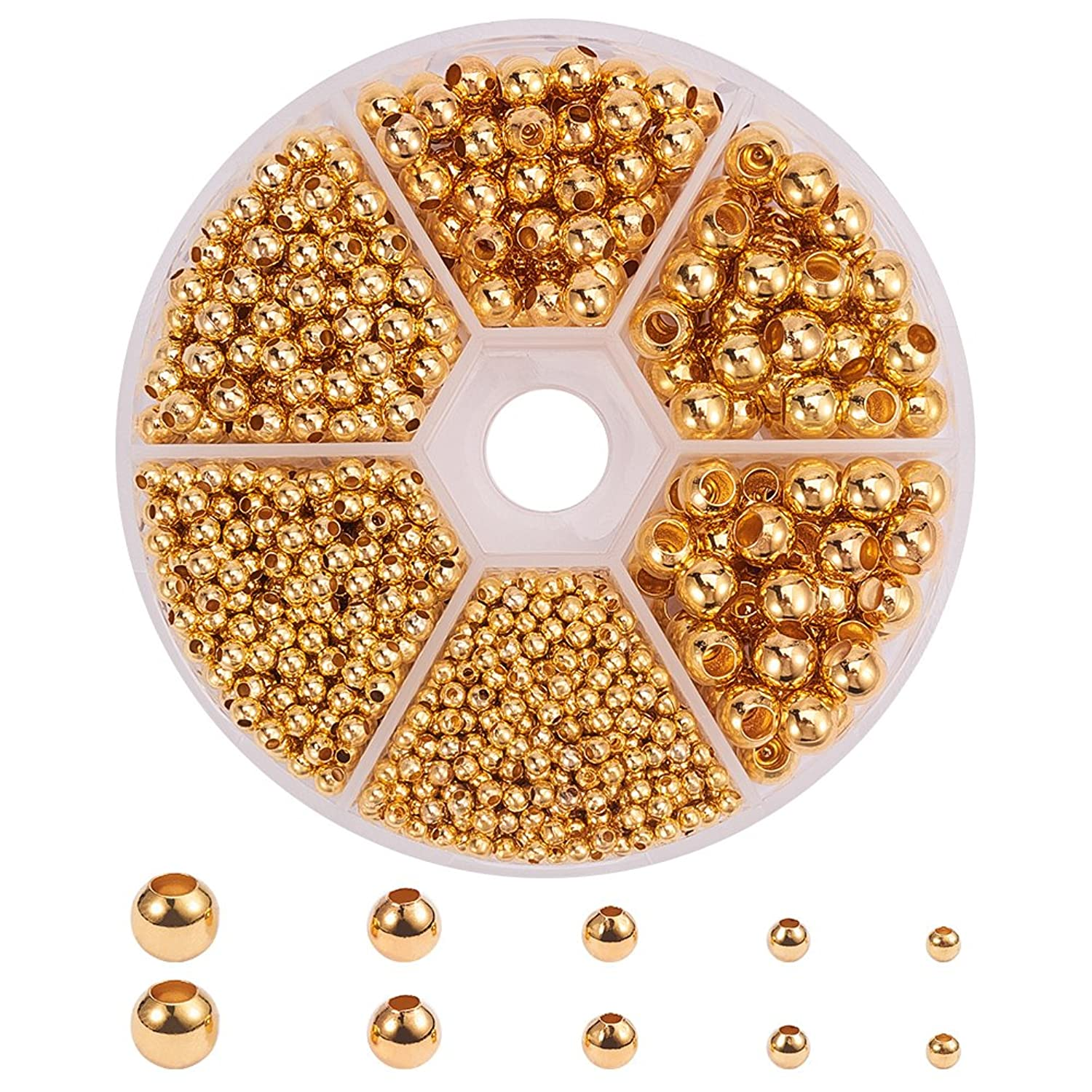 PH PandaHall 1 Box 1430 PCS 5 Size Golden Brass Smooth Round Bead Spacers Jewelry Findings Accessories for Bracelet Necklace Jewelry Making