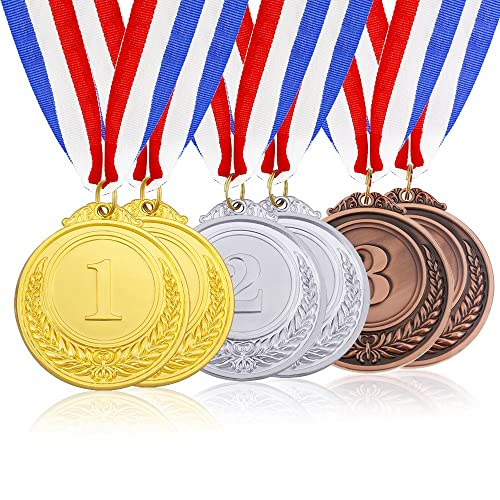 Caydo 6 Pieces Gold Silver Bronze Award Medals with Ribbon