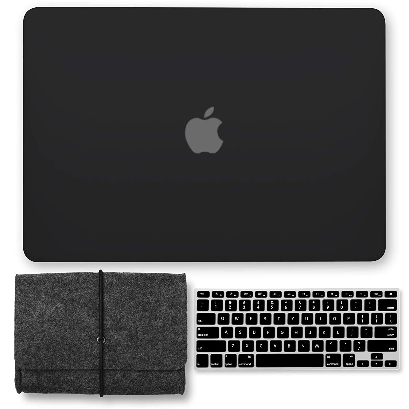 GMYLE MacBook Pro 15 Case 2018 2017 2016 Release A1990/A1707 with Touch Bar, Plastic Hard Shell & Keyboard Cover & Felt Pouch Storage Bag Compatible Newest Mac Pro 15 Inch, Black