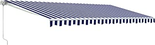 ALEKO AW13X10BWSTR03 Retractable Patio Awning 13 x 10 Feet Blue and White Striped