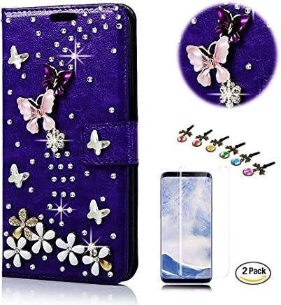 STENES LG V30 Case - STYLISH - 3D Handmade Bling Crystal S-Link Butterfly Floral Design Wallet Credit Card Slots Fold Media Stand Leather Cover Case With Screen Protector - Dark Purple