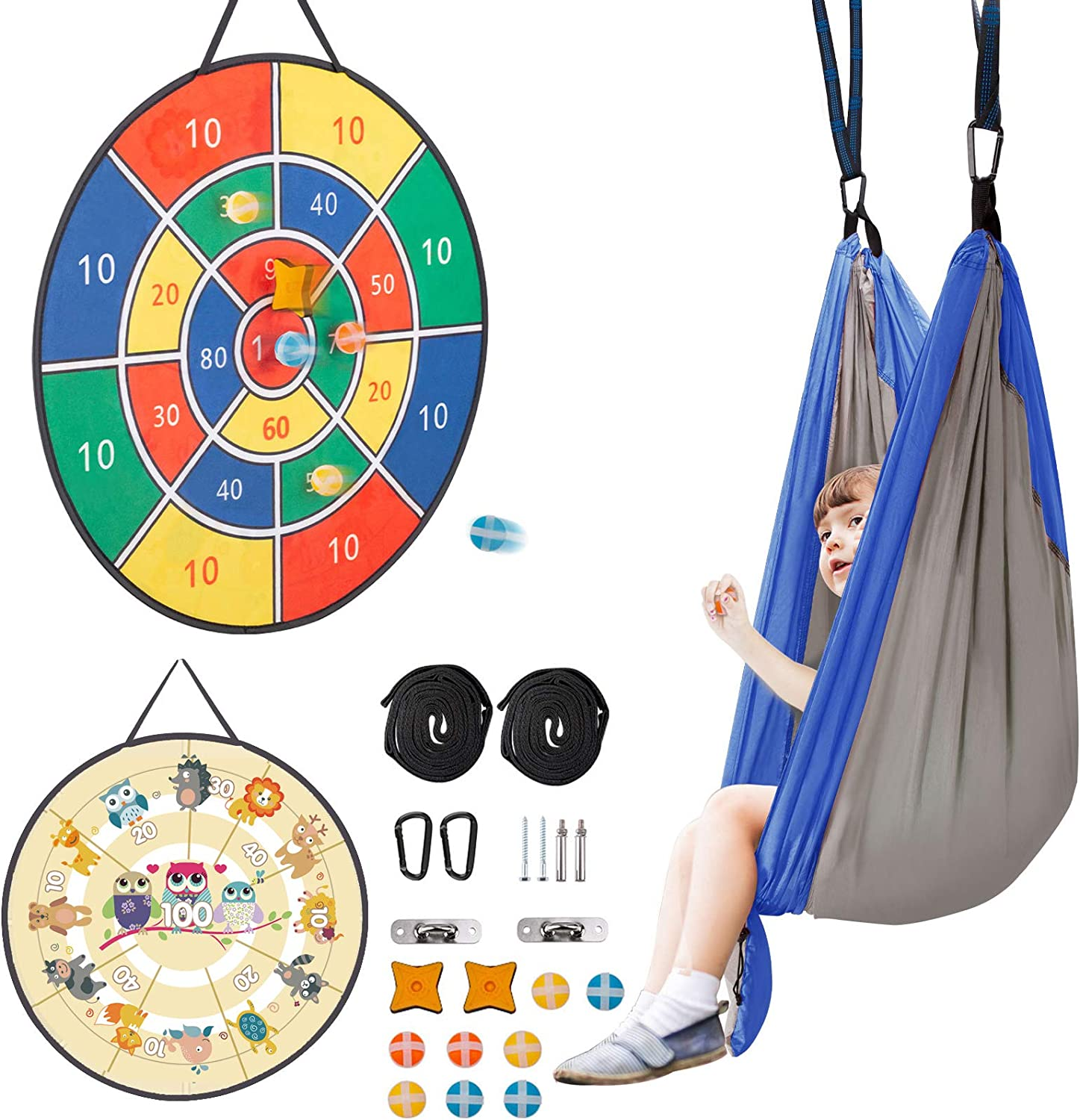 AVAH Indoor Swing for Kids & Adults Child Hanging Hammock Chair Swing with Dart Board with 8 Sticky Balls Kids Swing Indoor/Outdoor for Children Suitable for Family Games