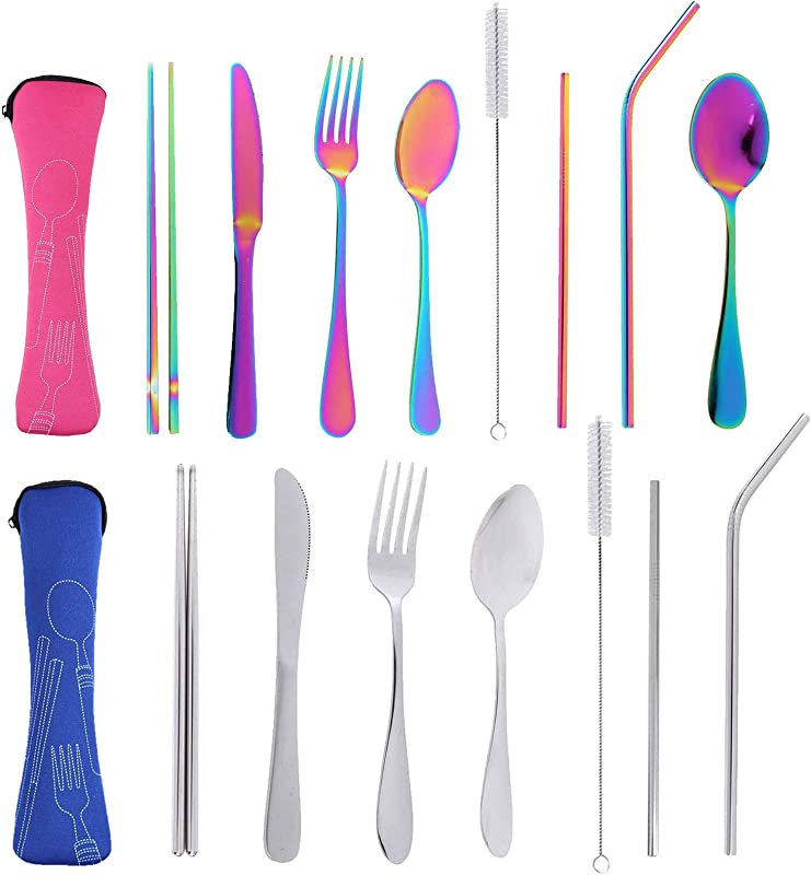17pcs Reusable Travel Utensils Cutlery Silverware Set With Case Stainless Steel Portable Flatware Set For Camping Office Or School Lunch Dishwasher Safe Cutlery Knife Fork Spoon Straws Set Rose Blue