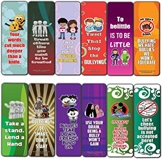 Creanoso Anti-Bullying Slogans Bookmarker Cards (30-Pack) – Six Assorted Quality Reading Bookmarks for Kids – Premium Gift Set Boys & Girls – Stocking Stuffers Gifts for Children – Book Clip