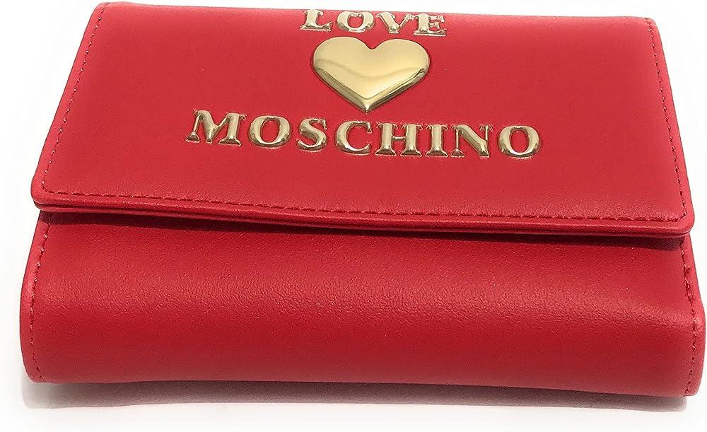 love moschino porta carte di credito portafoglio da donna in pelle sintetica rossa
