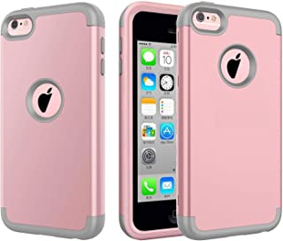 iPhone 5C Case, J.west Hybrid Heavy Duty Shockproof Full-Body Protective Case with Dual Layer [Hard PC+ Soft Silicone] Impact Protection for Apple iPhone 5C - Rose Gold/Grey