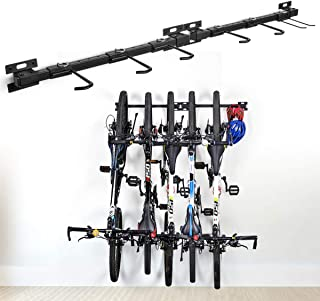 XCSOURCE Bike Storage Rack Holds 5 Bicycles Bike Wall Mounted Bike Hanger Holder Bicycle Storage Rack Garage Storage Syste...