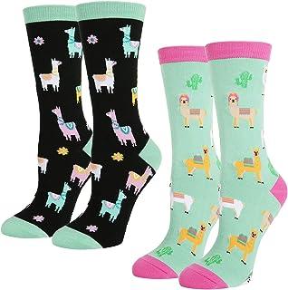 42c41df55eef Women's Novelty Crazy Crew Socks Funny Colorful Food Rainbow Unicorn  Teacher Book Chicken Hen Teeth Sloth