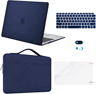 MOSISO MacBook Air 13 inch Case 2019 2018 Release A1932 Retina Display, Plastic Hard Shell & Sleeve Bag & Keyboard Cover & Webcam Cover & Screen Protector Compatible with MacBook Air 13, Navy Blue