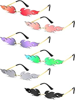 1 Pair Fire Flame Sunglasses Novelty Flame Sunglasses Rimless Sunglasses for Women Men