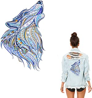 Wolf Iron On Patch Beautiful Wolf Appliques Watercolor Folk-Custom Style Heat Transfer Vinyl Sticker with Grade-A Thermal Transfer Stickers Waterproof&Washable Decal for DIY T-Shirt Jacket Dresses