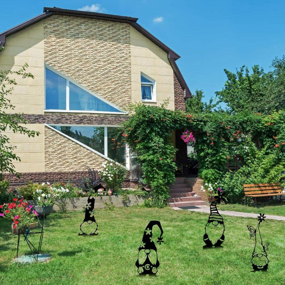 BSOA Yard Art Garden Statue di gnomi pasquali gnomi Goblin in Piedi in Metallo Decorazione Silhouette Art Ornamenti Nani per Prati allaperto Cortili Giardini Cortili