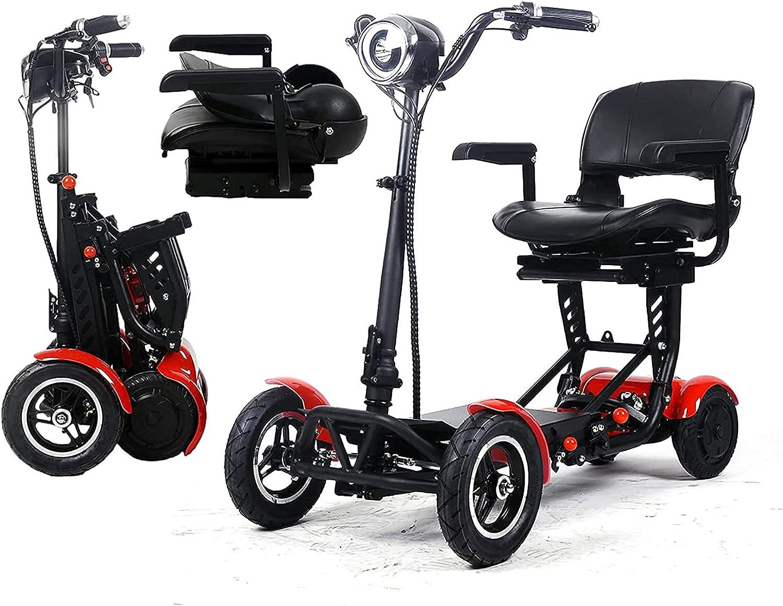 Caiyuankai Scooters para sillas de ruedas de movilidad plegable, sillas de ruedas eléctricas móviles, portátiles, ligeras, compactas, motorizadas para discapacitados de 4 ruedas con asiento para