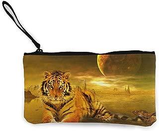Billetera Unisex, Monederos, Moon Tiger Unisex Canvas 3D Print Pattern Coin Purse Wallets