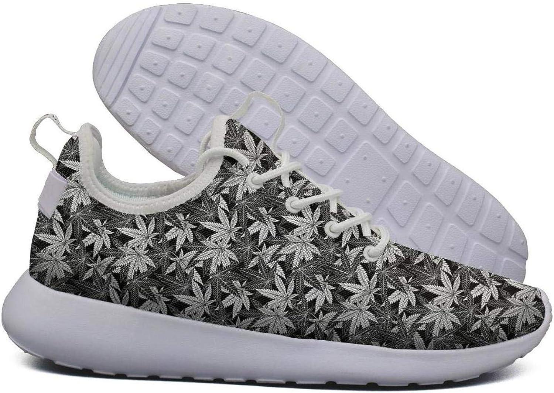 Hoohle Sports Womens Black Cannabis Organic Flex Mesh Roshe 2 Lightweight Print Running Sneakers shoes