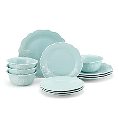 Lenox Butterfly Meadow Carved collection 12 Piece Dinnerware Set, Blue -