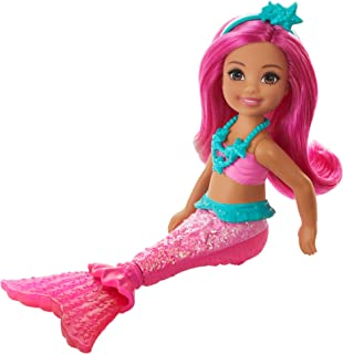 Barbie Dreamtopia Chelsea Mermaid Doll, 6.5-inch with Pink Hair and Tail, Multicolor