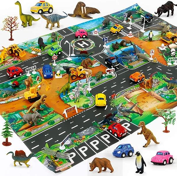 儿童游戏垫城市道路建筑物停车地图游戏益智玩具婴儿健身房地垫 130100 厘米