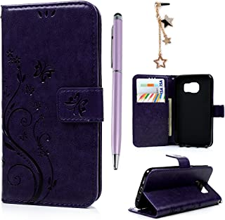Galaxy S7 Case (NOT for S7 Edge), MOLLYCOOCLE Purple PU Leather Stand Wallet Purse Credit Card Holders Design Flip Folio TPU Soft Bumper Slim Fit Cover for Samsung Galaxy S7