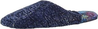 Dearfoams Women's Chenille Rib knit Scuff مع شبشب كعب مخملي