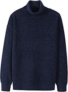 Turtleneck Sweater Men Warm Winter Thick Black Navy Solid Color Pullover Sweaters Male