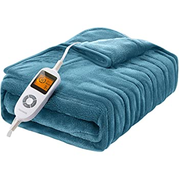 "Amazon.com: Homech Electric Heated Blankets, Electric Throws with  Double-Layer Flannel, 10 Heating Levels, 3 Hours Auto-Off, Fast Heat & ETL  Certification, Home Office Use & Machine Washable, 50"" x 60"": Kitchen &"
