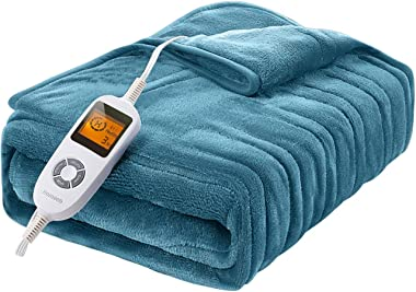 Homech Electric Heated Blankets, Electric Throws with Double-Layer Flannel, 10 Heating Levels, 3 Hours Auto-Off, Fast Heat &a