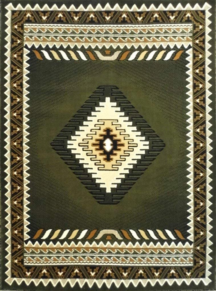 Animer and In stock price revision Navajo Aztec Western Native American Sage Rug Gre Area Geometric