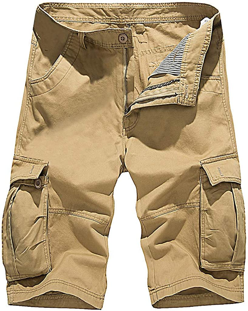 Summer Shorts for Men Casual Cargo Shorts Fashion Solid Color Shorts with Pockets