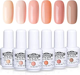Perfect Summer Nude Gel Nail Polish Set - 6 Colors Gel Nail Varnish Soak Off UV LED Manicure Series Colors Collection 8ML