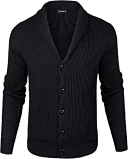 Sykooria Mens Shawl V Neck Knitted Button Down Wool Cardigan Sweater with Pockets