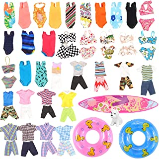 Miunana Lot 11 Pcs Handmade Clothes and Accessories Set for Ken and 11.5 Inch Dolls| 3 Random Swim Trunks for Ken + 5 Swimsuits for 11.5 Inch Doll + 1 Surf Skateboard + 2 Lifebuoys| Summer Beach Style