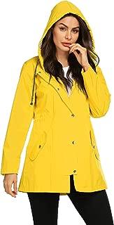 Women Raincoat Waterproof Striped Lined Lightweight Jacket with Hood Long Fashion Outdoor Jacket