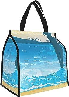 Y-shop Beach Summer Vibes Girl Near The Sea Shore Ocean Palms Waves Sunny Art Print Sky Blue Cream Slate Blue Picnic Freez...