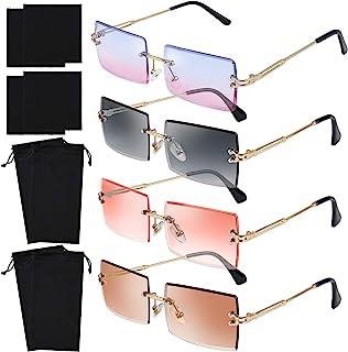 عینک آفتابی URATOT 4 Pack Rimless Rectangle عینک آفتابی Vintage Rimless عینک آفتابی Retro عینک آفتابی قاب زنانه مردانه