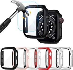 Liwin 6-Pack PC Case Built in Tempered Glass Screen Protector Compatible with Apple Watch SE/Series 6 / Series 5 / Series 4 44mm, Hard PC Full Protective Cover Bumper Compatible with iWatch 44mm