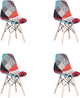 N  A Pack de 4 sillas Sillas de Retazos Multicolores en Tela de Lino Sillas de Sala de Estar de Ocio Sillas de Comedor co...