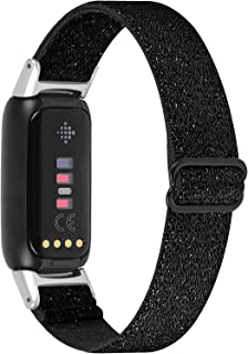 OCEBEEC Stretchy Sport Bands Compatible with Fitbit Luxe, Adjustable Elastic Nylon Wristband Replacement for Fitbit Luxe Fitness and Wellness Tracker for Women Men(Shining Black)