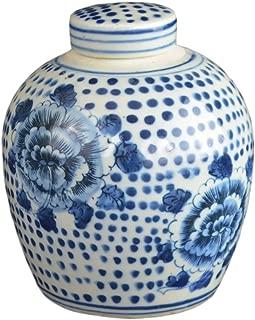 Festcool Antique Style Blue and White Porcelain Flowers Ceramic Covered Jar Vase, China Ming Style, Jingdezhen (LJ1)