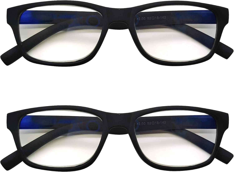 PANTONA –Pack2 Gafas de Lectura Anti-Luz Azul,Gafas de Presbicia Antifatiga para Hombre y Mujer ,Lentes Antirreflejantes,Gafas Vista Cansada bloqueo Luz Azul,7 Graduaciones y 4 Colores disponibles.