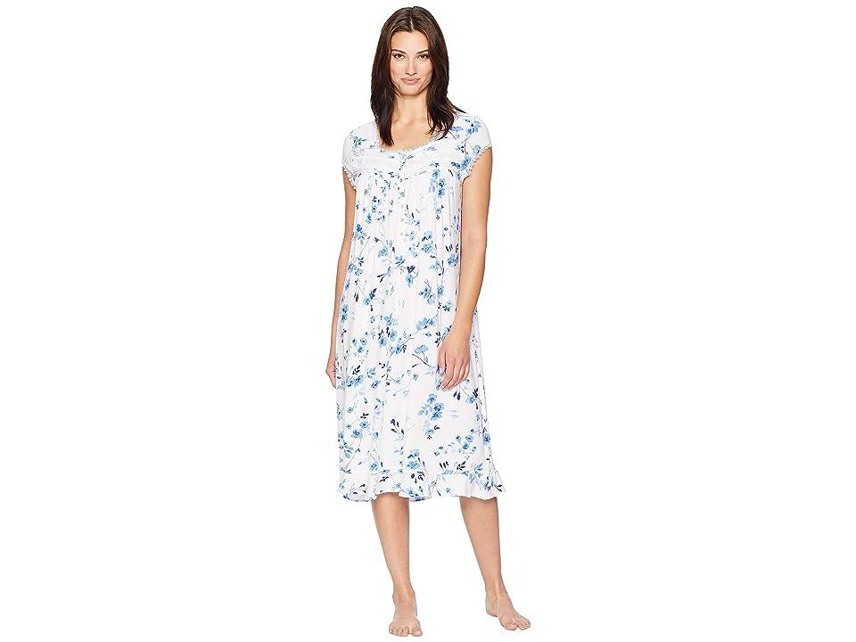 Eileen West Ballet Modal Waltz Nightgown (White Ground/Blue Mono Floral) Women