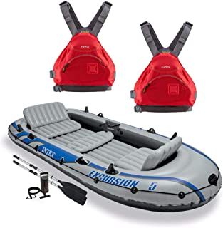 Intex Excursion 5 Person Inflatable Raft, 2 Oars & 2 Red Life Jackets, Large XL