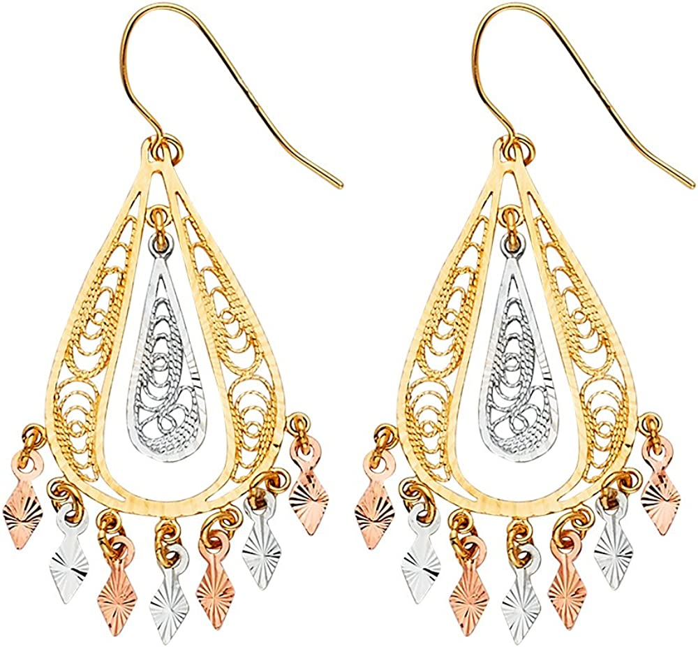 FB Jewels 14K White Yellow NEW And Selling rankings Rose Gold Hanging Filigree Chande