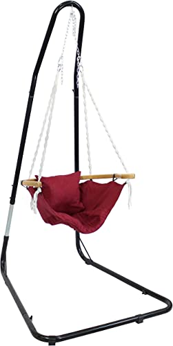 wholesale Sunnydaze Audrey Hammock Chair with Stand, Wood Armrest and Cushion - Outdoor Hanging Lounge Seat for Patio and Backyard - new arrival Olefin outlet online sale Fabric and Bamboo - 260-Pound Capacity - Red outlet online sale