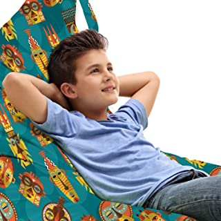 Lunarable Tribal Toy Bag Lounger Chair, Folk Aboriginal Pattern Cultural Primitive Voodoo Objects, High Capacity Stuffed Animal Storage with Handle, Lounger Size, Multicolour