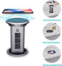 BTU Pop Up Outlet Desk Recessed Power Socket Automatic Raising Retractable Surge Protector Power Strip, 3 AC Outlet and 2 USB Ports 5Ft Long Power Cord with Wireless charging Station, Gray
