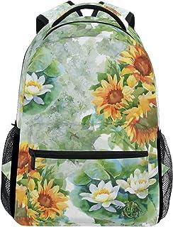 TIZORAX Sommer Gelb Sonnenblumen Rucksack Schulranzen Segeltuch Wandern Reise Rucksack