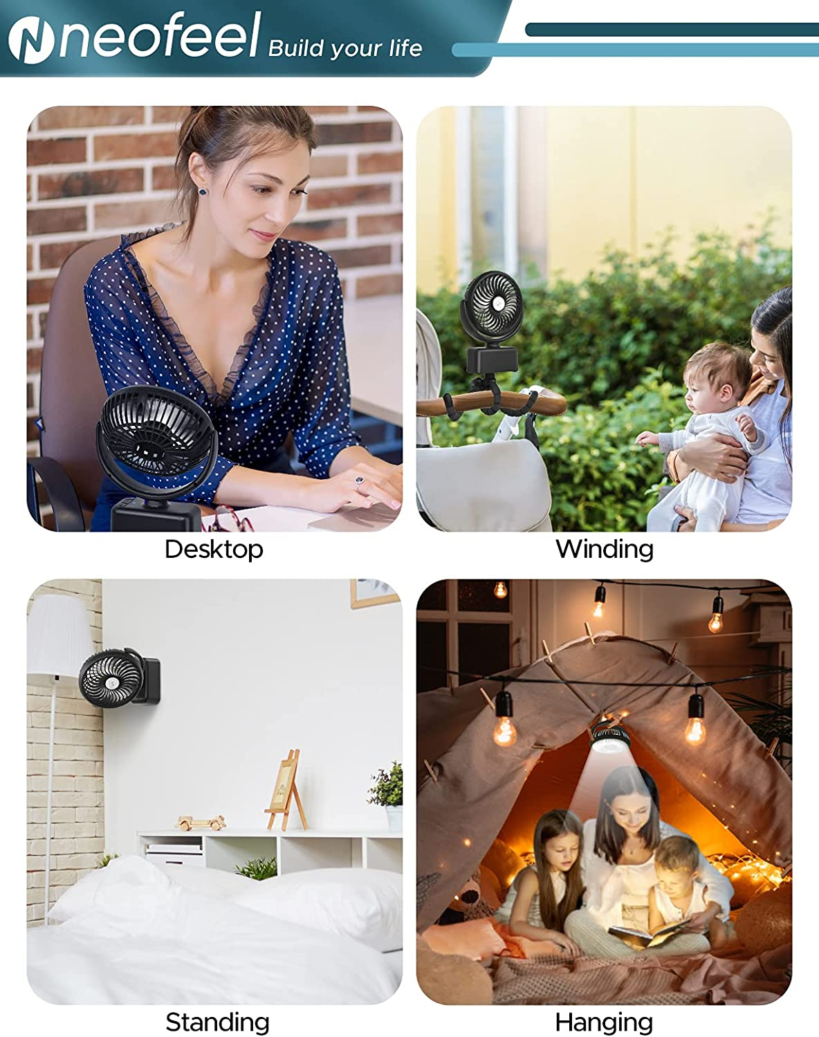 NEOFEEL Stroller Fan 5000mAh Camping Fan with LED Light 3 Speed Personal Fan with Tripod for Office and Home Ultra Quiet 120° Osicllating Portable Fan